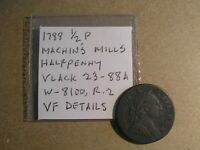 1788 MACHIN'S MILLS HALFPENNY VLACK 23 88A R.2 VF DETAILS COLONIAL COPPER COIN