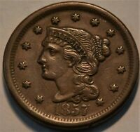 1857 BRAIDED HAIR LARGE CENT HIGH GRADE BETTER DATE NICE TYP