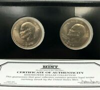 1971 P & D IKE EISENHOWER DOLLAR COLLECTION FIRST COMMEMORATIVE MINT COA