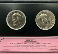 1974 P & D IKE EISENHOWER DOLLAR COLLECTION FIRST COMMEMORATIVE MINT COA