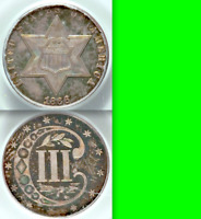1866 PCGS PR65 MINTAGE 22K  725 PROOF OGH COULD GO PR66  THREE CENTS 3C SILVER