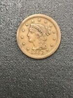1853 BRAIDED HAIR LARGE CENT   UNITED STATES COIN NICE SHAPE