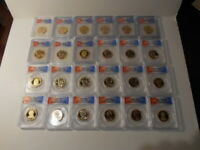 SET OF 8 $1 PRESIDENTIAL 3-COIN SETS GRADED FDOI MINT STATE 67, PR-69 BY ICG & ANACS