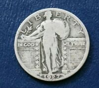 1927 SILVER LIBERTY STANDING QUARTER   GOOD TO VG DETAILS
