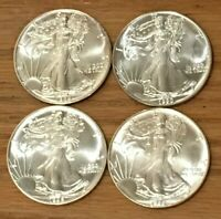 1989, 1990, 1992 AND 1995  AMERICAN SILVER EAGLE DOLLARS BRILLIANT UNCIRCULATED