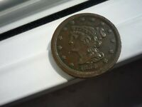 1854 MINT STATE      LOW MINTAGE  BRAIDED HAIR HALF CENT BN