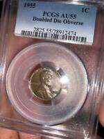 1955 WHEAT PENNY DOUBLE DIE OBVERSE PCGS AU 55