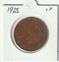 AUSTRALIA 1925 1 PENNY COIN CIRCULATED NOT