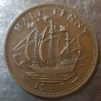 1957 HALF PENNY CALM SEA. GOOD CONDITION GENUINE COIN.