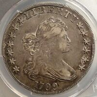 1799 DRAPED BUST SILVER DOLLAR, PCGS EF-45, CHOICE ORIGINAL EARLY TYPE COIN