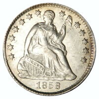 1858 SEATED HALF DIME  AU ABOUT UNCIRCULATED  SCRATCHES, PRICED RIGHT