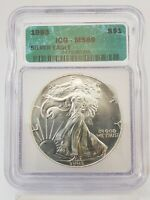 1993 1 OZ AMERICAN SILVER EAGLE $1 COIN ICG MINT STATE 69 7IC