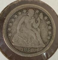 1856 SMALL DATE SEATED LIBERTY DIME FINE DETAILS