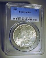 1889 MORGAN DOLLAR VAM 28A PCGS MINT STATE 62 DOUBLED EAR FAR DATE, PITTED DO HIT LIST 40