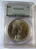 1886 P VAM 1A1 LINE IN 6 TOP 100 PCGS MINT STATE 64 LINE IN 6, CLASHED OBVERSE IN & ST