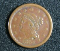 1856 BRAIDED HAIR LARGE CENT  - REAL  COIN