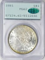 1881 MORGAN SILVER DOLLAR $1 - PCGS MINT STATE 62 CAC - OLD GREEN HOLDER- OGH- RATTLER