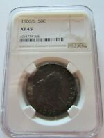 1806/5 DRAPED BUST HALF DOLLAR NGC EXTRA FINE 45 FIFTY CENTS OVER DATE SILVER COIN 50C