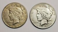 1926 S PEACE SILVER DOLLARS LOT OF 2