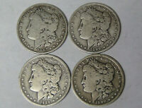 LOT OF 4 MORGAN SILVER DOLLARS 1887-O 1888-O 1889-O 1890-O NEW ORLEANS 21420