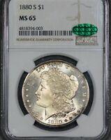 PQ 1880-S $1 MORGAN SILVER DOLLAR NGC MINT STATE 65 CAC HINTS OF COLOR LOOKS 66
