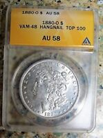 1880 O MORGAN DOLLAR VAM 48 HANGNAIL EAGLE ANACS AU58 TOP 100