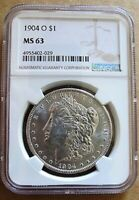 1904 O BU MORGAN DOLLAR MINT STATE 63 VAM 35A COUNTER CLASH OBV DOUBLING CLASHED OBV IN S