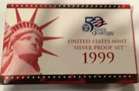 1999 S US MINT SILVER PROOF SET   WITH BOX/COA