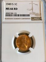 1949 S LINCOLN WHEAT CENT MINT STATE 66RD NGC GRADED