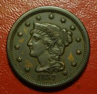 1857 BRAIDED HAIR LARGE CENT, AU/UNC    SMALL DATE    SOFT LUSTER WITH RED