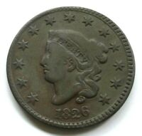 1826 MATRON HEAD LARGE CENT, F/VF    FULL RIMS,  DETAILS & SURFACES