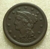 1848 BRAIDED HAIR LARGE CENT, EXTRA FINE