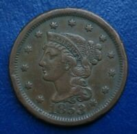 1853 BRAIDED HAIR LARGE CENT, VF DETAILS