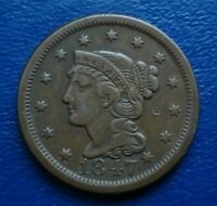 1847 BRAIDED HAIR LARGE CENT, VF