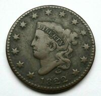1822 MATRON HEAD LARGE CENT, VG