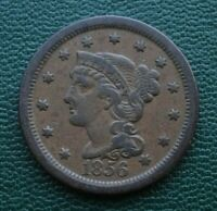 1856 BRAIDED HAIR LARGE CENT, VF    ATTRACTIVE ORIGINAL COIN