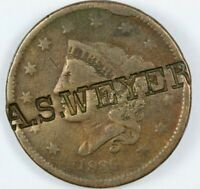 1836 CORONET HEAD LARGE CENT 1C - COUNTERSTAMPED