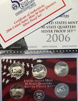 2006 S US SILVER STATEHOOD PROOF SET   WITH BOX/COA.