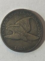 1857 FLYING EAGLE CENT CLASHED WITH 50 CENT FS-402.  ORIGINAL FINE.