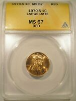 1970 S LARGE DATE LINCOLN CENT ANACS MS 67 RED LUSTROUS FIERY RED