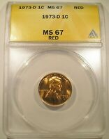 1973 D LINCOLN CENT ANACS MS 67 RED SUPER BRIGHT RED LUSTROUS  $675 LIST.