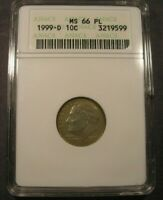 1999 D ROOSEVELT DIME ANACS MS 66 PL LIGHT GOLD TONING PROOFLIKE SMALL HOLDER