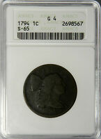 1794 LARGE CENT HEAD OF 1794  S-65  EARLY SLAB ANACS G4  PROBLEM FREE