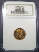 1941 S LINCOLN CENT NGC MS 67 RED TOP POP FIERY RED BLAZER NONE GRADED HIGHER.