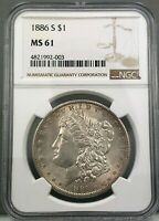 1886-S $1 MORGAN SILVER DOLLAR NGC MINT STATE 61