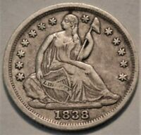 1838 SEATED LIBERTY HALF DIME HIGHER GRADE SILVER H10C BETTE
