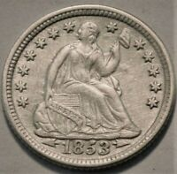1853 SEATED LIBERTY HALF DIME HIGH GRADE DETAILS SILVER H10C
