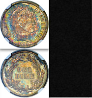 1909 NGC PR64 RAINBOW TONING  650 MINTED  NON DOCTORED  PROOF BARBER DIME 10C