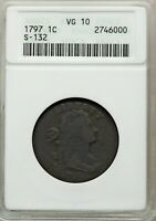 1797 DRAPED BUST LARGE CENT ANACS VG10 S 132 HIGH R5 REV OF 1797 NO STEMS COPPER