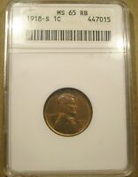 1918 S LINCOLN CENT ANACS MS 65 RB GEM UNCIRCULATED RED BROWN SAN FRANCISCO